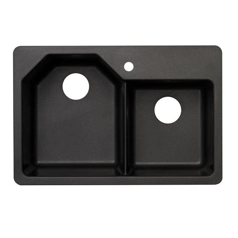 home depot black kitchen sink glacier bay dual mount granite 33 in 1 hole double bowl