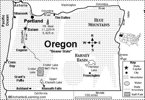 map of oregon border oregon map quiz printout enchantedlearning