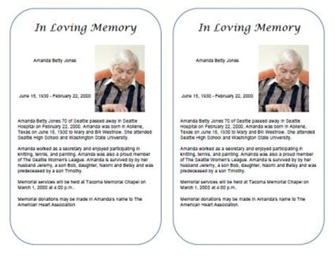 Free Obituary Templates Free Obituary Template