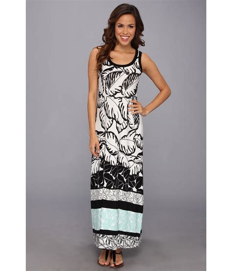 Cp Black Rayon Print Oscar Fashion3 polynesian print maxi dress in black lyst