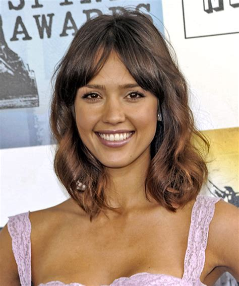 Jessica Alba Long Wavy Casual Hairstyle with Layered Bangs