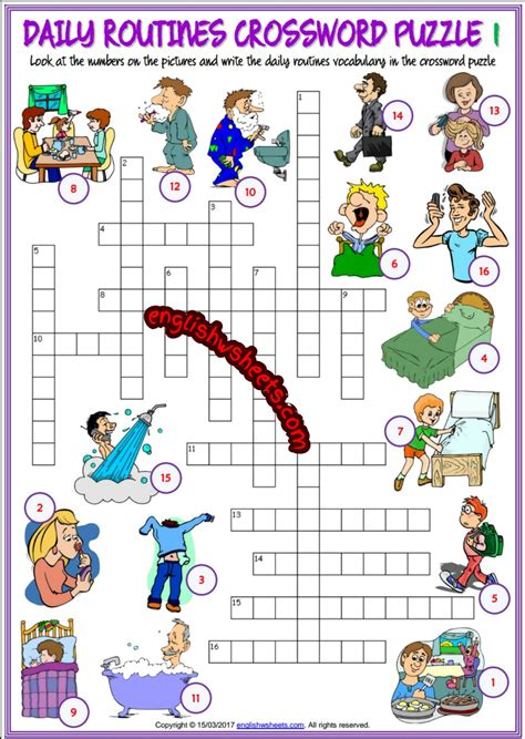 english printable worksheets daily routine daily routines esl printable crossword puzzle worksheets