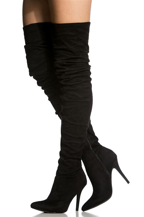 black faux suede pointed toe thigh high boots cicihot