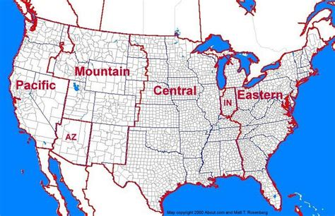 us map with time zone lines us 48 states time zones