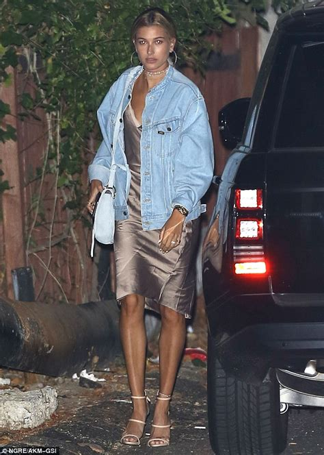 Dress Hrc 77 dreamy in denim hailey baldwin covers up barely there
