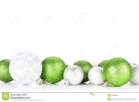 green silver for christmas green and silver baubles stock photo image 61084666