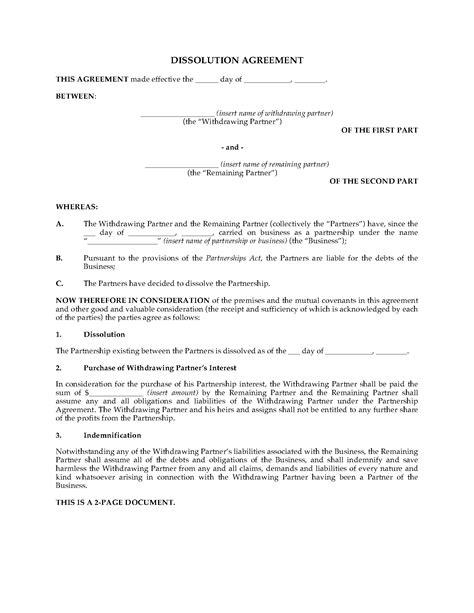 ontario partnership dissolution agreement legal forms  business templates megadoxcom