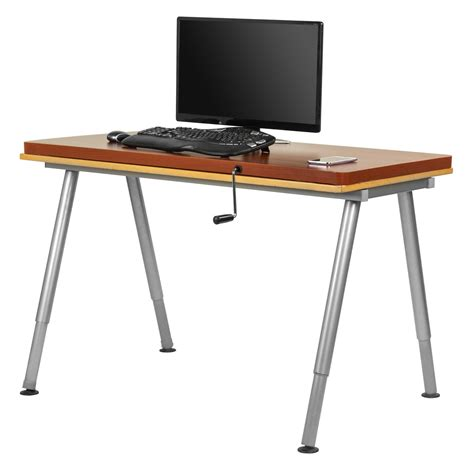 manual height adjustable desk manual adjustable height table top sit stand desk cherry