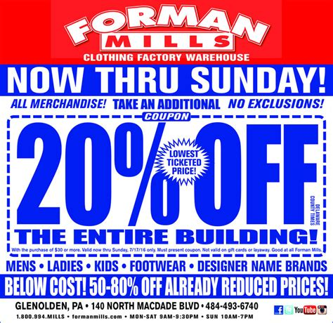 Forman Mills Gift Card - forman mills s quot for clothing factory warehouse now thru sunday quot ad powered by