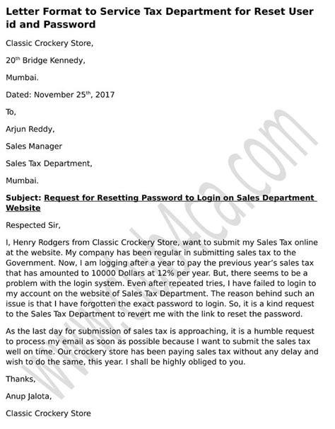 letter format  sale tax department  reset user id  password