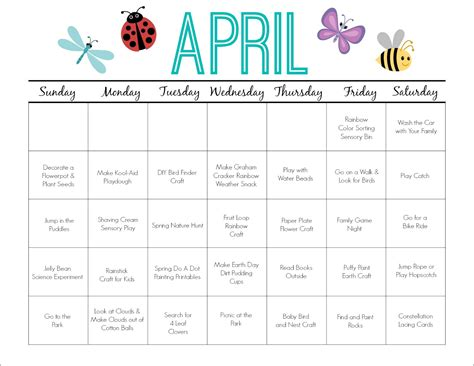 printable calendar ideas printable activity calendar for kids free printable from
