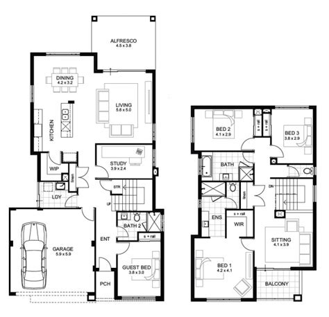 floor plan of two storey house two storey house floor plan and elevations house floor plans