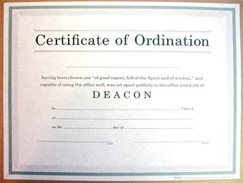 certificate of ordination for deacon