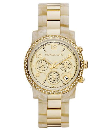 michael kors s chronograph horn acetate and