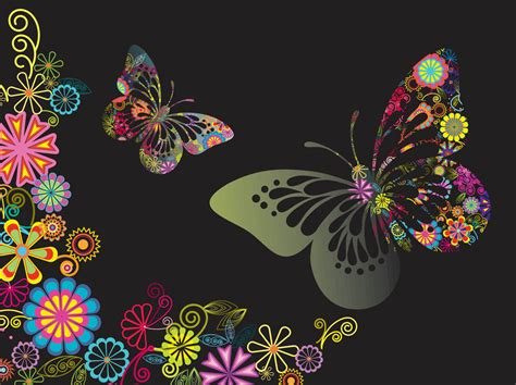 colorful butterfly colorful flowers and butterflies vector graphics
