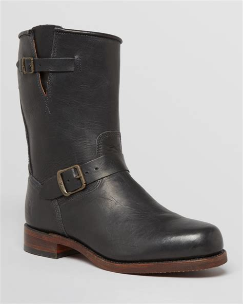 frye arkansas engineer leather boots in black for lyst