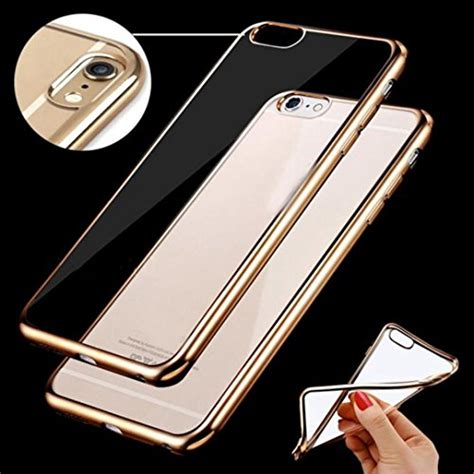Softcase Tpu With Plating Iphone 6 Plus 6s Plus Softcover Backcover soft tpu clear with color plating bumper for iphone 6 6s 6 plus 6s plus the gadget