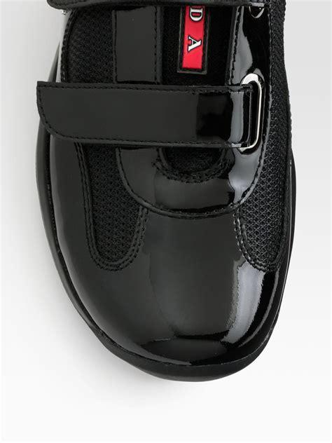 prada sneakers black patent leather prada americas cup patent leather mesh sneakers in black