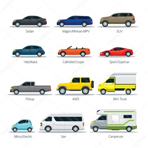 Types Of Cars by Car Type And Model Objects Icons Set Stock Vector