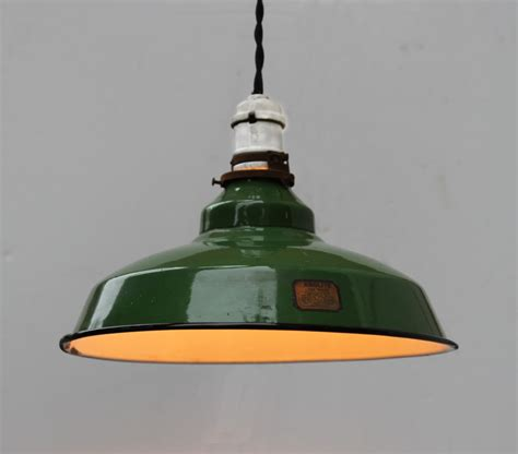 vintage industrial green enamel pendant light fixture by turul