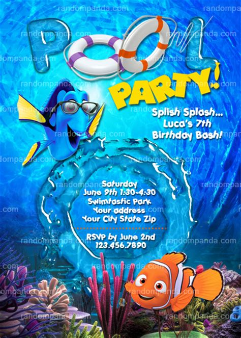 Diy Finding Nemo Invitation Nemo Pool Party Dory Beach Party Invite Finding Dory Birthday Invitations Template