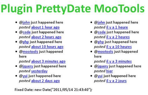 date format javascript minutes mootools forge prettydate
