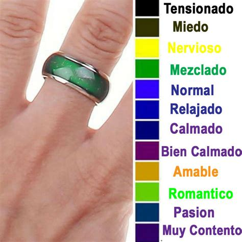 color humor anillo de acero inoxidable cambia color humor anillo de