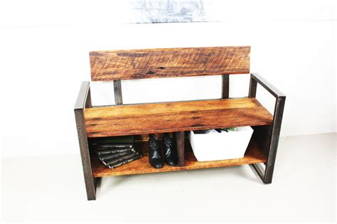 industrial storage bench reclaimed wood storage bench industrial benches by