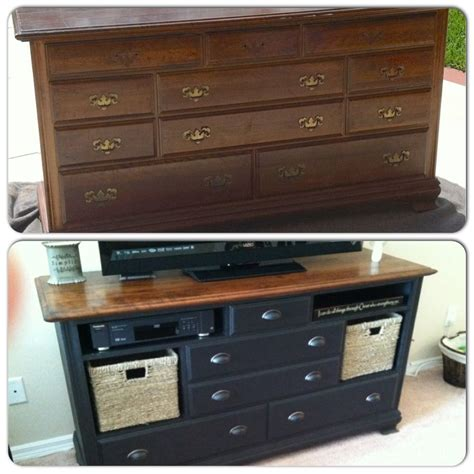 dresser entertainment center diy from old ugly dresser to beautiful entertainment center