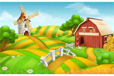 Global Decor Styles farm field landscape vector illustrations creative market