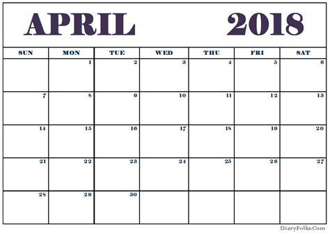 april 2018 calendar template free printable calendar com