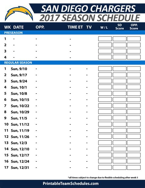san diego chargers 2015 season free printable tv schedule for 2014 nfl