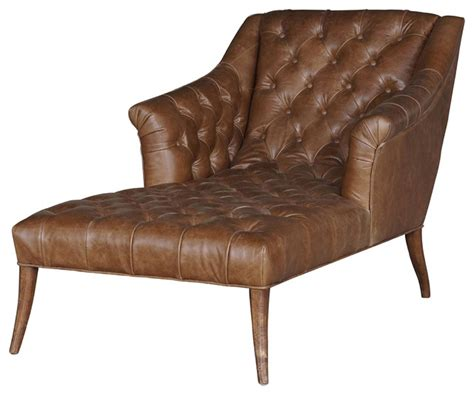 brown lounge roald rustic lodge brown leather tufted armchair chaise