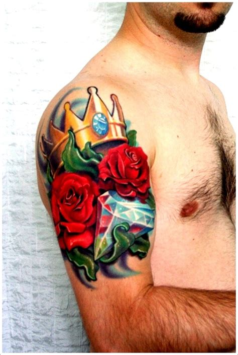 rose with diamond tattoo meaning crown with for busbones