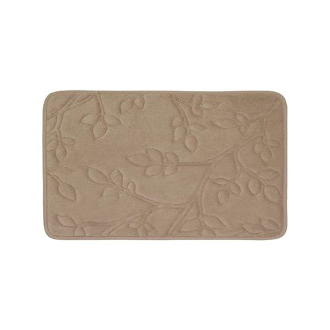 17 X 24 Bath Mat by Bouncecomfort Leaves Linen 17 In X 24 In Memory