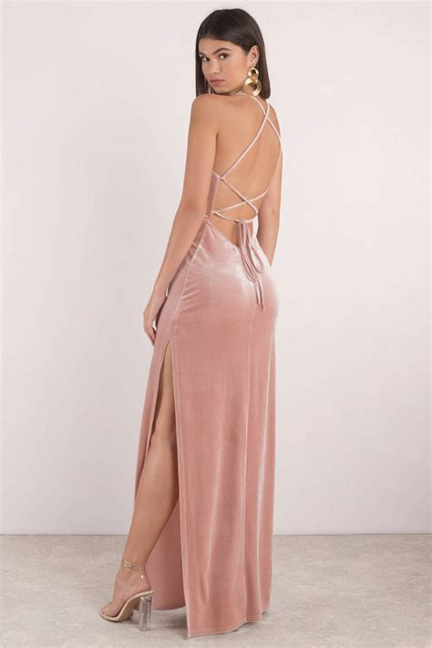 chagne color prom dress pink maxi dress lace up velvet dress pink gown