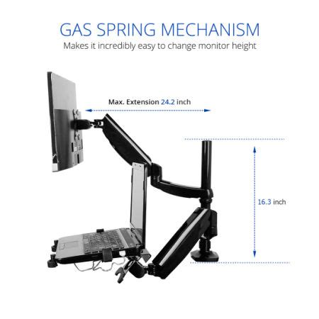 gas spring desk mount shop for 2 in 1 fleximounts height adjustable dual arm lcd