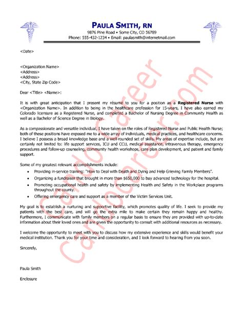 cover letter exle for nursing application cover letter sle
