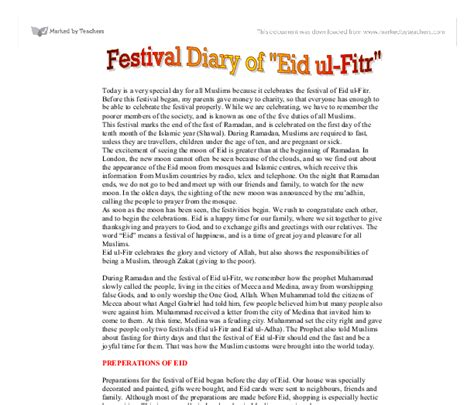 Essay On Eid Festival In by Today Is A Special Day For All Muslims Because It Celebrates The Festival Of Eid Ul Fitr