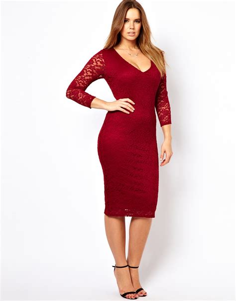 asos curve midi dress in lace in oxblood lyst