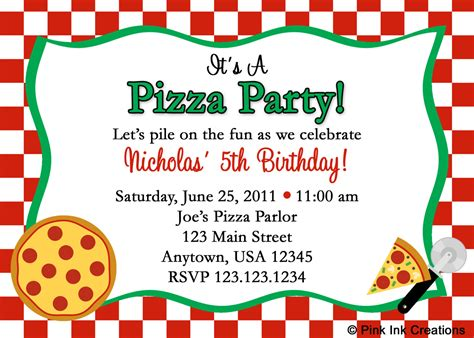 free pizza invitation template new pizza birthday invitations or by