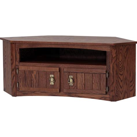 solid oak corner mission stlye tv stand w cabinet 53