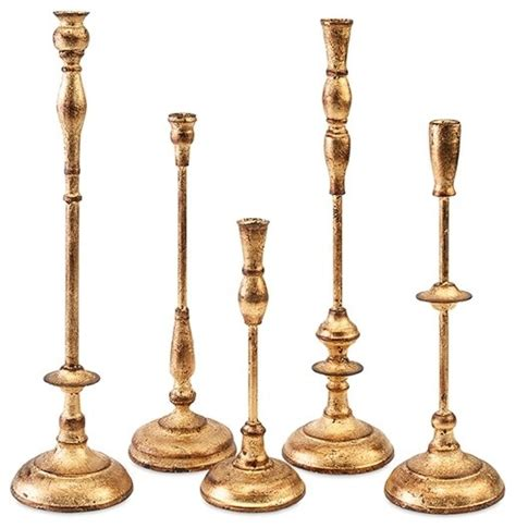 Gold Candle Holders Antique Gold Metal Taper Candle Holder Set Of 5