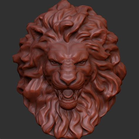 lion head  model  printable obj stl cgtradercom