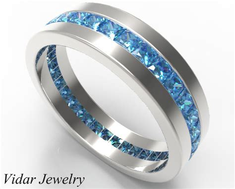 2 Carat Natural Fancy Blue Diamond Wedding Band   Vidar