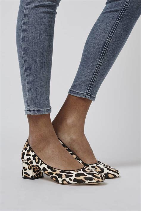 topshop leopard sandals topshop juliette pony leather mid heel shoes in animal