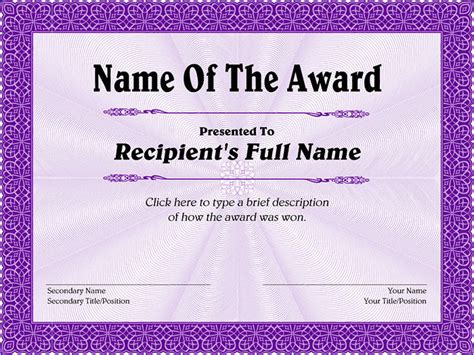 template for certificate of award 30 free printable certificate templates to