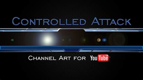 Controlled attack gaming youtube channel art template youtube