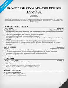 front desk coordinator resume sle resumecompanion