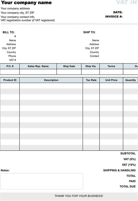 invoice template with vat vat invoice free premium templates forms